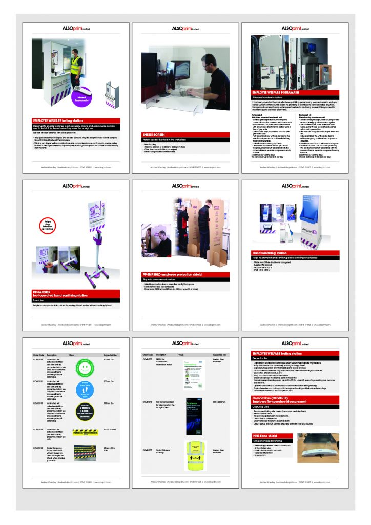 COVID Catalogue sample pages